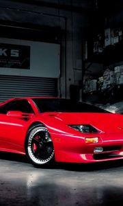 Preview wallpaper red, garage, car, lamborghini