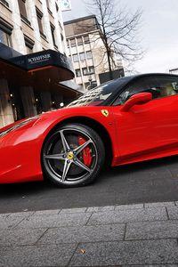 Preview wallpaper red, parking, ferrari 458 italia, ferrari, street