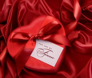 Preview wallpaper red, satin, ribbon, gift, heart, bow