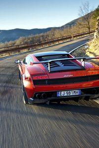 Preview wallpaper red, traffic, sports car, lamborghini