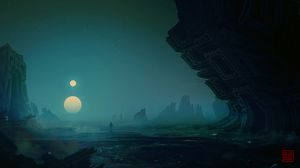 Preview wallpaper relief, landscape, alien, unearthly, loneliness, darkness