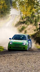 Preview wallpaper renault, car, green, rally, dust