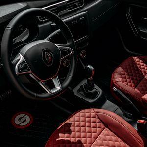 Preview wallpaper renault, car, wheel, seat, salon, red