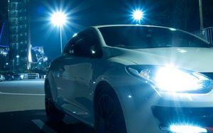 Preview wallpaper renault megane, headlights, light, night