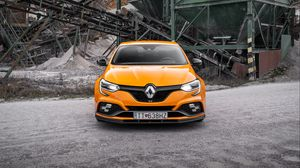Preview wallpaper renault megane, renault, car, yellow, front view