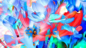 Preview wallpaper rendering, flowers, art, lines, bright