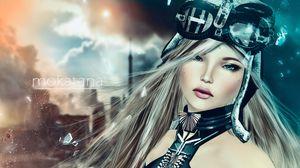 Preview wallpaper rendering, girl, art, eyes, hair, blond hair, debris