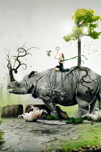 Preview wallpaper rhino, girl, nature, birds, situation, forest
