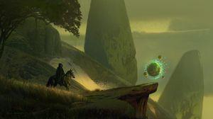 Preview wallpaper rider, cloak, horse, fantasy, art