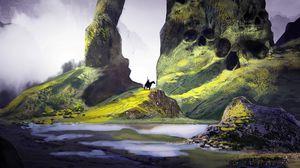 Preview wallpaper rider, silhouette, rocks, skulls, fantasy, art