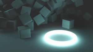Preview wallpaper ring, glow, cubes, 3d