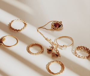 Preview wallpaper rings, jewelry, gold, aesthetics