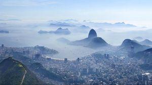 Preview wallpaper rio de janeiro, top view, panorama, mist