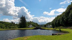 Preview wallpaper river, beautiful, summer landscape, grass