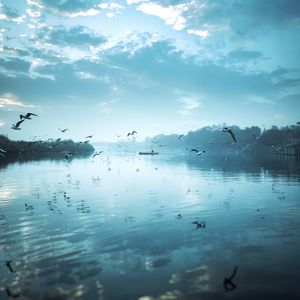 Preview wallpaper river, birds, flock, fly, sky, boat, reflection