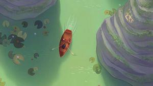Preview wallpaper river, boat, art, rocks, water lilies