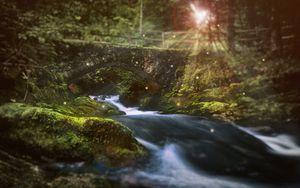 Preview wallpaper river, bridge, sunlight, flare, stones