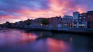 Preview wallpaper river, buildings, sunset, architecture, bridge