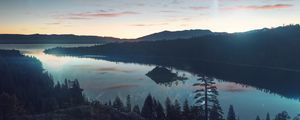 Preview wallpaper river, forest, mountains, sky, sunset, reflection, fantastic