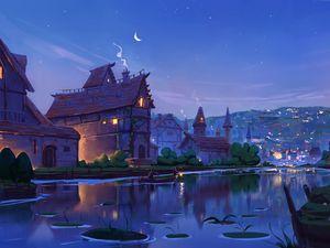 Preview wallpaper river, home, art, evening, fabulous