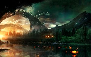 Preview wallpaper river, house, art, night, starry sky, fantastic