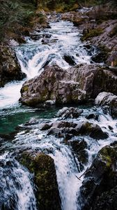 Preview wallpaper river, cascade, water, stones, landscape