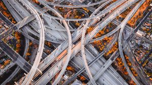 Preview wallpaper road junction, roads, aerial view, interchange road, fork, sunset, los angeles