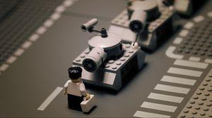 Preview wallpaper road, lego, tank, tanks, black white, man