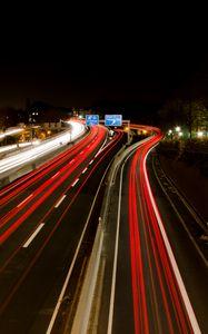 Preview wallpaper road, light, long exposure, dark, night