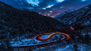 Preview wallpaper road, light, sky, forest, mountains, snow