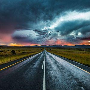 Preview wallpaper road, marking, evening, clouds, horizon