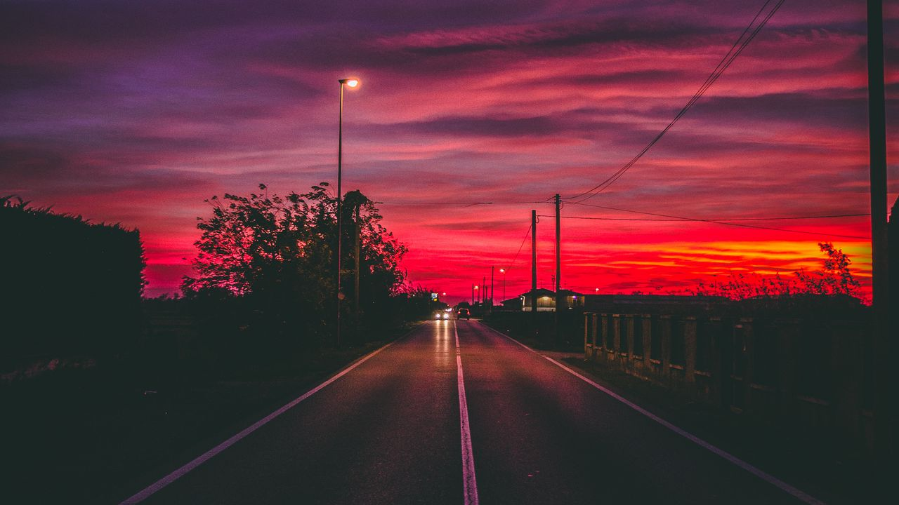 1280x720 Wallpaper road, sunset, horizon, marking