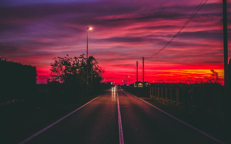 1440x900 Wallpaper road, sunset, horizon, marking