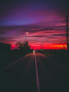 240x320 Wallpaper road, sunset, horizon, marking