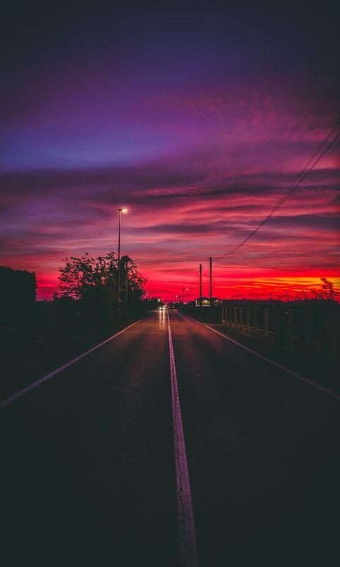 480x800 Wallpaper road, sunset, horizon, marking