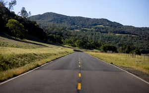 Preview wallpaper road, trees, hill, nature, landscape