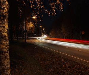 Preview wallpaper road, turn, bend, light, long exposure, dark