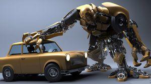 Preview wallpaper robot, car, wreck
