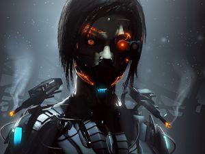 Preview wallpaper robot, cyborg, eyes, dark