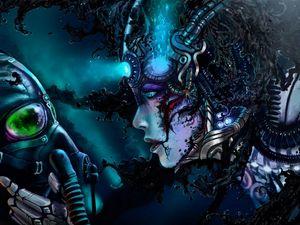 Preview wallpaper robot, cyborg, man, mask, liquid