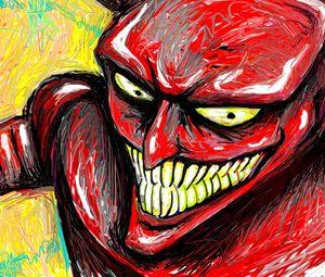 Preview wallpaper robot devil, futurama, drawing, smile