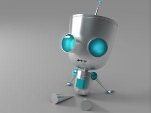 Preview wallpaper robot, eyes, metal, sit