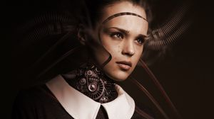 Preview wallpaper robot, girl, cyborg, future, sadness, tears, feelings, artificial intelligence
