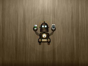 Preview wallpaper robot, glass, phone, vector