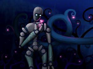 Preview wallpaper robot, heart, love, dark