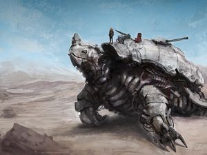 Preview wallpaper robot, machine, turtle, weapons, people