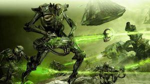 Preview wallpaper robots, creatures, weapons, laser, battle
