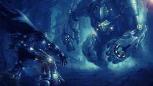 Preview wallpaper robots, cyborgs, battle, scramble
