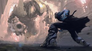 Preview wallpaper robots, cyborgs, iron, battle