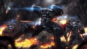 Preview wallpaper robots, machinery, fire, war, shooting